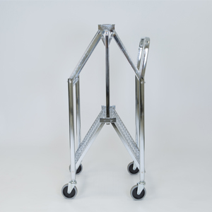 folding trolley wire two shelf half folded