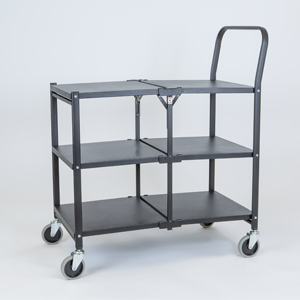 folding trolley solid three shelf empty a