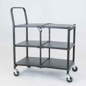 folding trolley solid three shelf empty b
