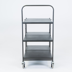 folding trolley solid three shelf empty d