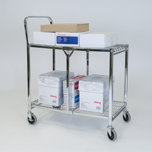 folding trolley wire two shelf loaded