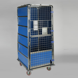 Laundry Cage Plastic Sides Blue